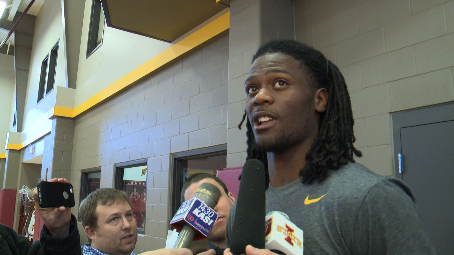 Jameel McKay meets with reporters Thursday. (Roger Riley WHO-HD photo)