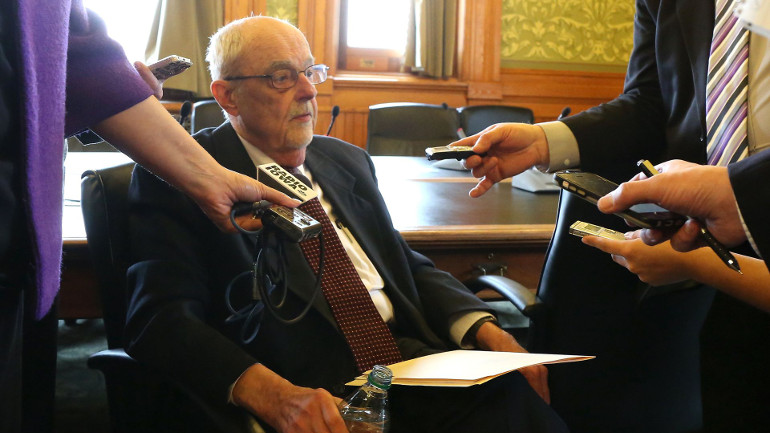 Iowa Department of Human Services Director Charles Palmer takes questions from members of the media after a hearing Thursday at the Iowa Capitol building in Des Moines. The department is looking into closing two mental health facilities. (Photo: Bryon Houlgrave/The Register)