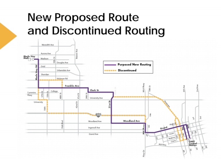 The proposed route realignment would combine local routes 5 and 51 (Photo Courtesy: DART)