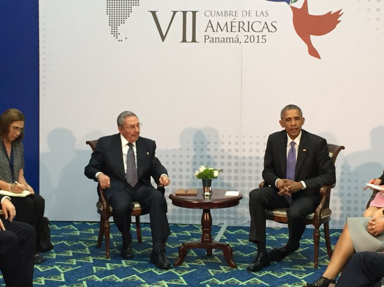 President Obama meets with Cuban President Raul Castro at the Summit of the Americas