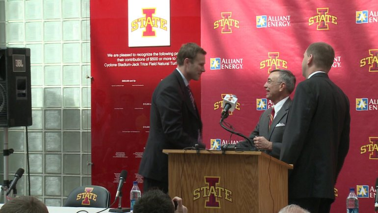 Fred Hoiberg is greeted by Iowa State University President Gregory Geoffroy (center) and Athletics Director Jamie Pollard during his introduction as Iowa State's men's basketball coach on April 28, 2010. (WHO-HD)