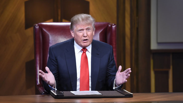 """Donald Trump appears on NBC's """"Celebrity Apprentice."""" The network announced it would monitor his candidacy for the Republican presidential nomination and reconsider his role on the show. (David Giesbrecht/NBC)"""