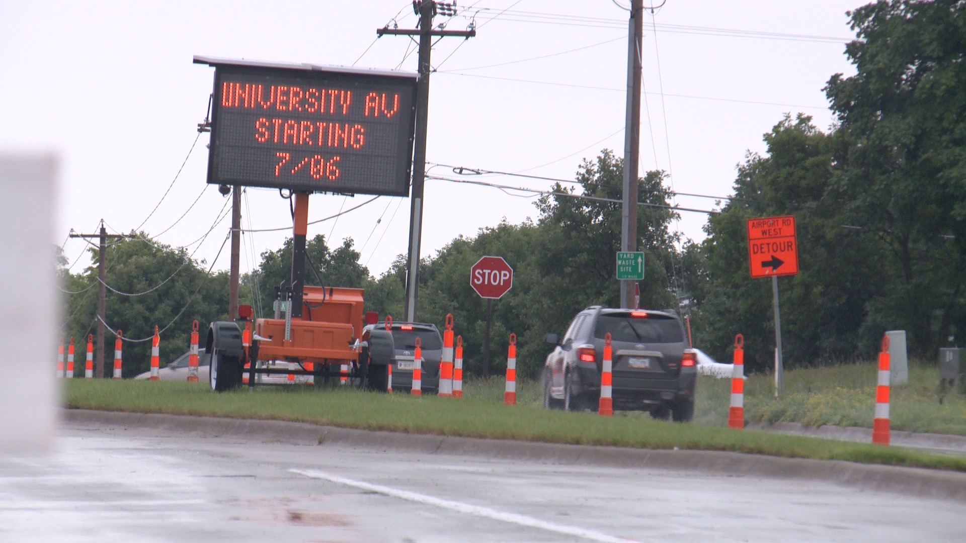 Airport and University closed in Ames as University Boulevard is extended (Roger Riley WHO-HD)
