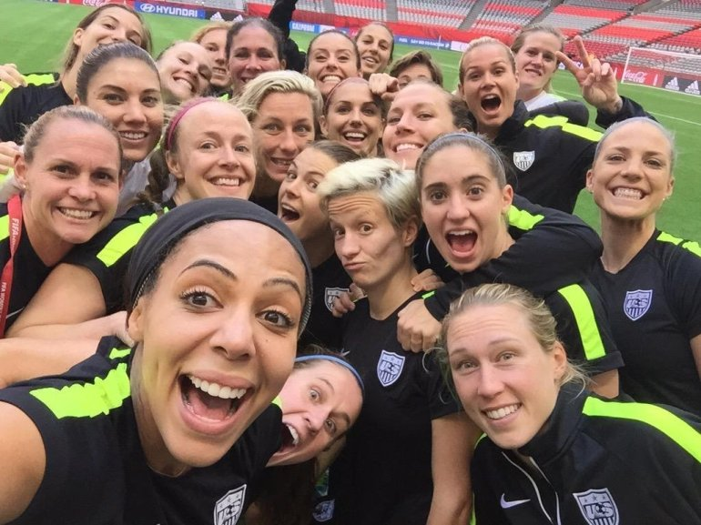 The U.S. Women's National Team stops to take a selfie during their final practice on July 15, 2015.