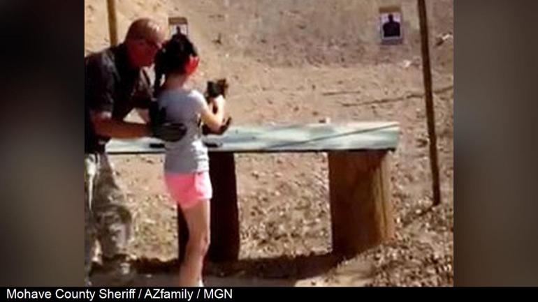 Charles Vacca, teaches the 9 year old girl how to handle the Uzi, Photo Date: 2014 (Mohave County Sheriff / AZfamily / MGN)