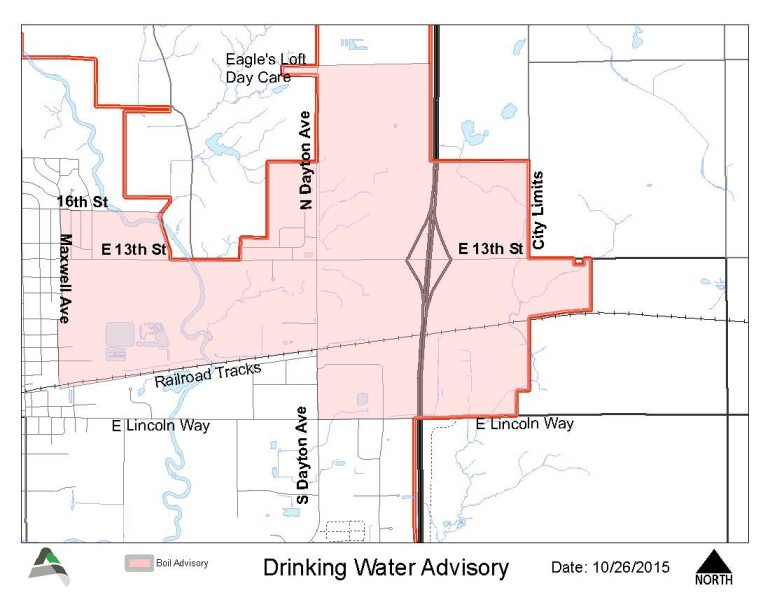 Areas affected by boil order.