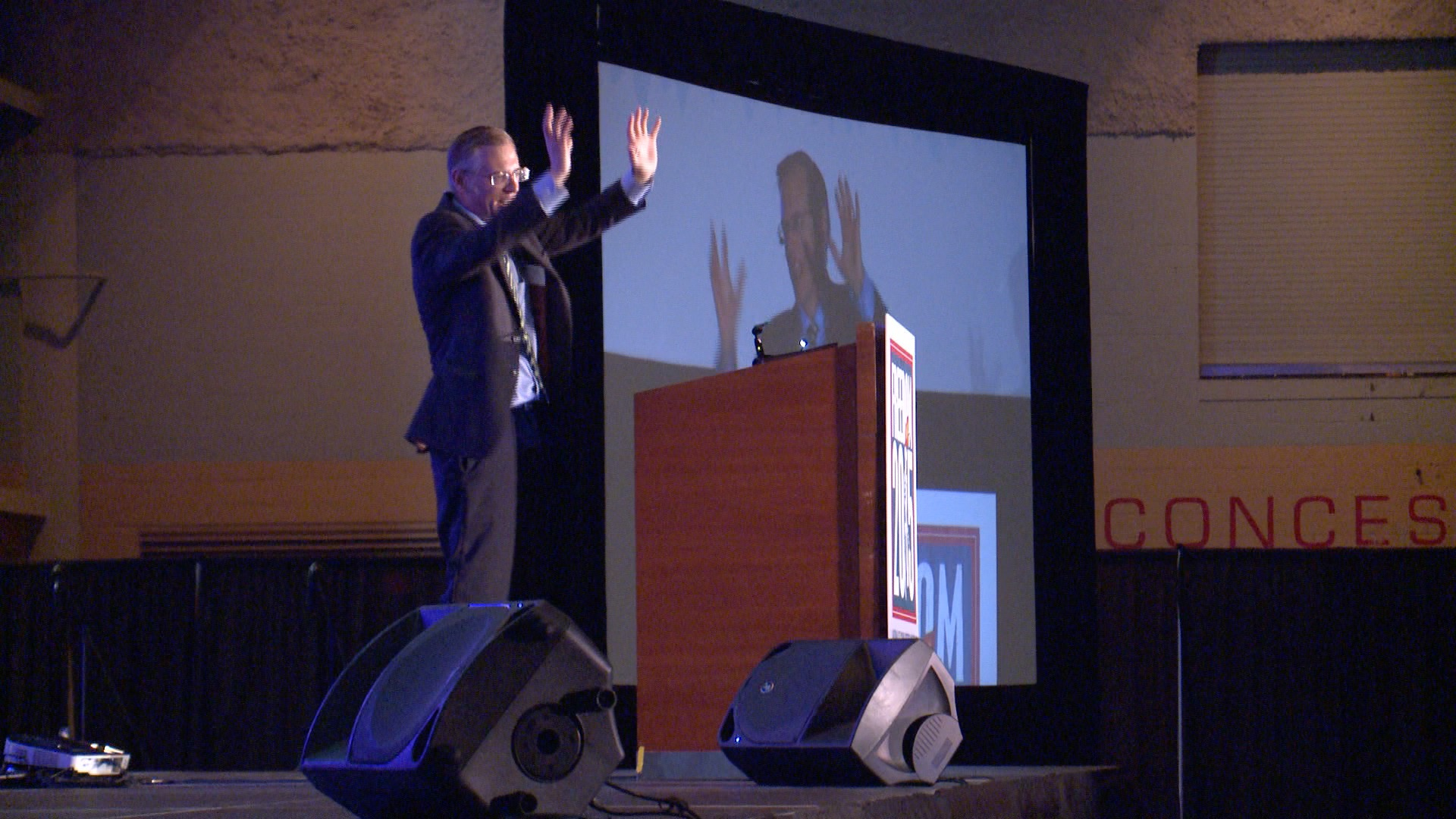 Kevin Swanson, Organizer of Freedom 2015, speaking at HyVee Hall Friday (Roger Riley WHO-HD)