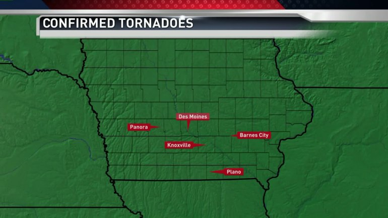 Confirmed tornadoes in Iowa on Wednesday Nov. 11th, 2015. (WHO-HD)