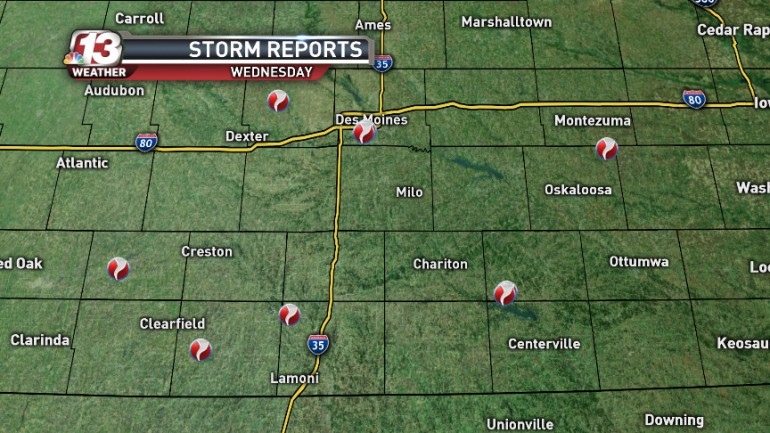 Reported tornadoes from Wednesday's storms. (WHO-HD)