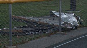 Damage to scoreboard at Winterset High School football field. (WHO-HD)