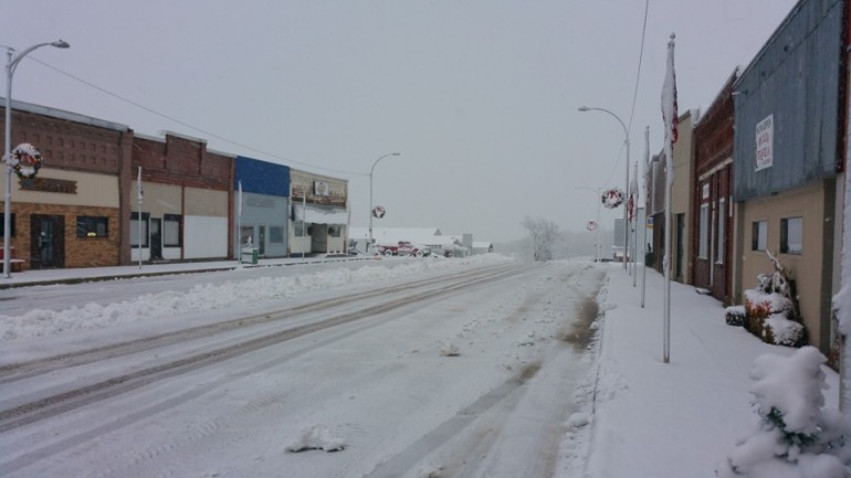 Courtesy Jim Zimmerline: Snow Monday morning in Adair.
