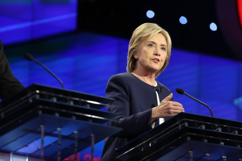 Hillary Clinton at the CNN Democratic Debate at the Wynn Hotel in Las Vegas, Tuesday, October 13, 2015.