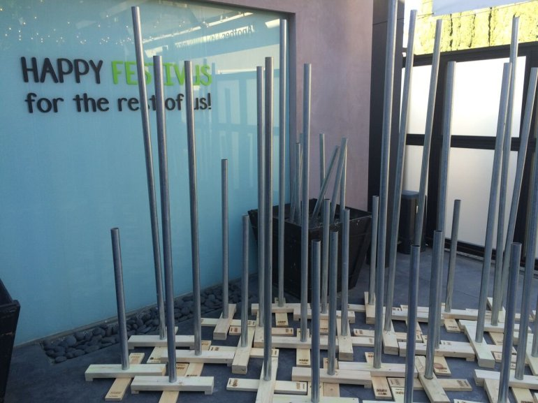 """The 'Seinfeld' experience in West Hollywood includes a Festivus pole garden. Festivus was introduced in the ninth and final season of """"Seinfeld"""" as a holiday that George Costanza, played by Jason Alexander, begrudgingly grew up with."""