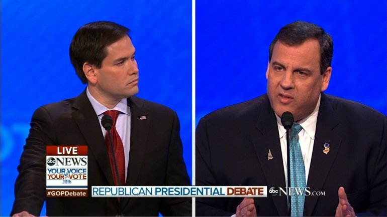 Republican candidates participate in the final debate before voting begins in New Hampshire's primary on Tuesday.
