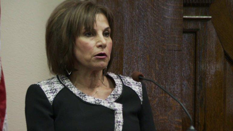 Joanne Fazzino testifies during her son's murder trial. (KWWL)