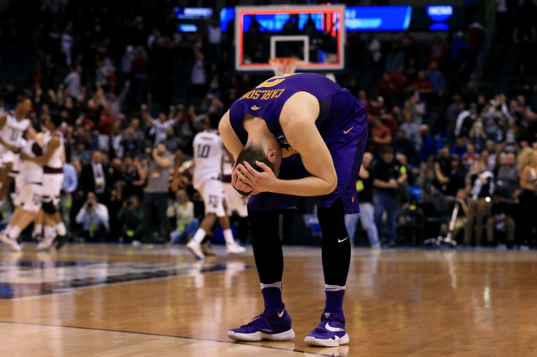 OKLAHOMA CITY, OK - MARCH 20: Klint Carlson #2 of the Northern Iowa Panthers reacts after being defeated by the Texas A&M Aggies in double overtime with a score of 88 to 92 during the second round of the 2016 NCAA Men's Basketball Tournament at Chesapeake Energy Arena on March 20, 2016 in Oklahoma City, Oklahoma. (Photo by Tom Pennington/Getty Images