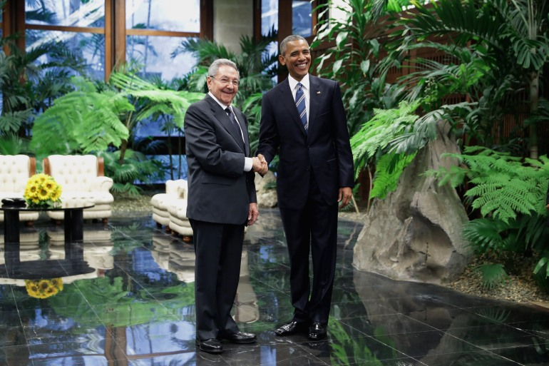 HAVANA, CUBA - MARCH 21:  U.S. President Barack Obama (R) and Cuban President Raul Castro greet one another before bilateral meetings at the Palace of the Revolution March 21, 2016 in Havana, Cuba. These are the first direct talks between Castro and Obama, the first sitting U.S. president to visit Cuba in 88 years.  (Photo by Chip Somodevilla/Getty Images)