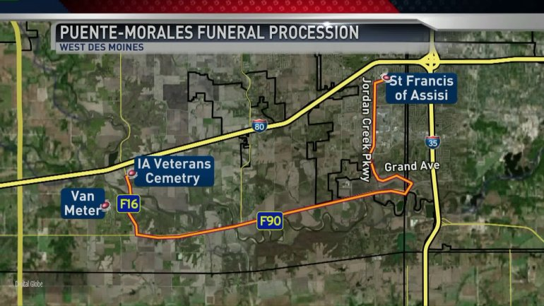 Procession route for Officer Puente-Morales' funeral Friday.