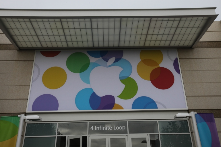 A banner decorated a doorway at Apple's headquarters in Cupertino, California ahead of the new iPhone announcement on September 10, 2013.