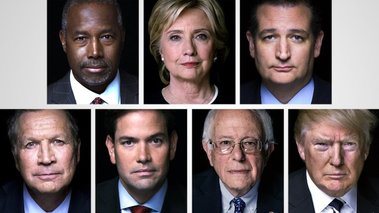 Candidates prepare for Super Tuesday.  Top Row L to R: Ben Carson, Hillary Clinton, Ted Cruz Bottom Row L to R: John Kasich, Marco Rubio, Bernie Sanders, Donald Trump