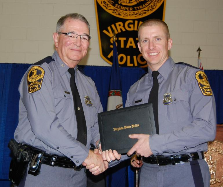 Chad Dermyer, 37, (right) died Thursday after he was shot during a training exercise. (Virginia State Police)