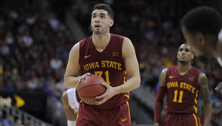 KANSAS CITY, MO - MARCH 10: Georges Niang #31 of the Iowa State Cyclones shoots a free throw against the Oklahoma Sooners during the quarterfinals of the Big 12 Basketball Tournament at Sprint Center on March 10, 2016 in Kansas City, Missouri. (Photo by Ed Zurga/Getty Images) *** Local Caption *** Georges Niang