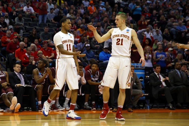 DENVER, CO - MARCH 19:  Monte Morris #11 of the Iowa State Cyclones celebrates with teammate Matt Thomas #21 in the first half against the Arkansas Little Rock Trojans during the second round of the 2016 NCAA Men's Basketball Tournament at the Pepsi Center on March 19, 2016 in Denver, Colorado.  (Photo by Justin Edmonds/Getty Images)