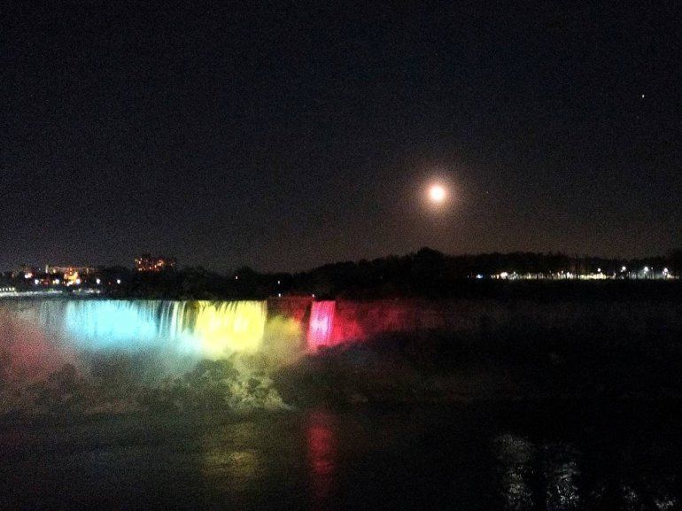 Mars and the moon glowed over Niagara Falls looking toward the American side of the park on Sunday night