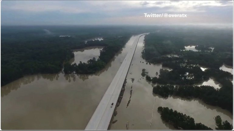 Drone video captured aerials of flooding over the San Jacinto River on Sunday morning