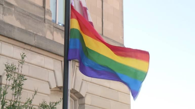 Rainbow flag outside Des Moines' City Hall.