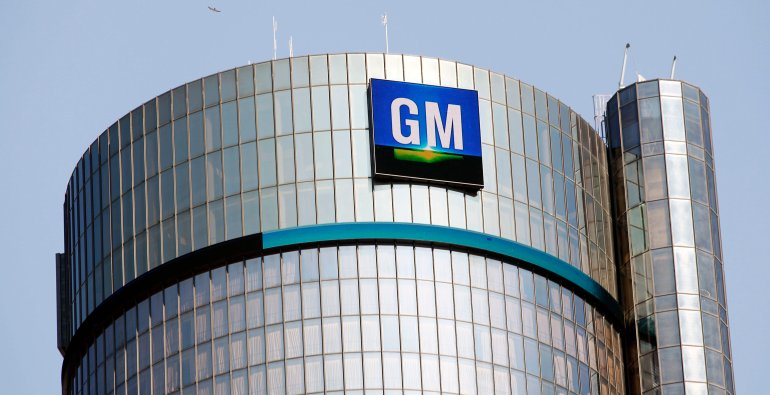 DETROIT, MI - SEPTEMBER 17:  The General Motors logo on the world headquarters building is shown September 17, 2015 in Detroit, Michigan. Mary Barra, Chief Executive Officer of General Motors, and Mark Reuss, President of GM North America, held an Employee Town Hall Meeting and a question & answer session with  the news media today to discuss GM's $900 million settlement with the Justice Department over GM's ignition switch recalls. (Photo by Bill Pugliano/Getty Images)