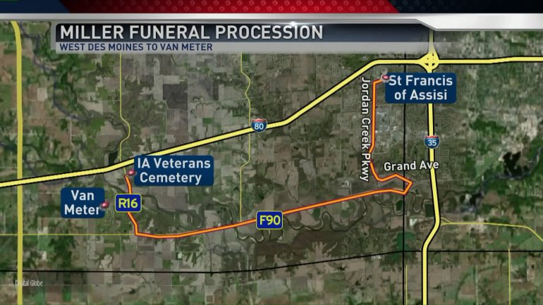 Funeral procession route for Officer Shawn Miller. (WHO-HD)