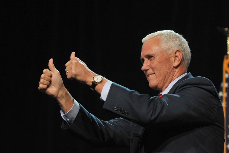 DES MOINES, IA - AUGUST 5 : GOP Vice Presidential candidate, Indiana Governor Mike Pence greets the crown prior to a speech by Republican Presidential Candidate Donald Trump speaks at a rally at the Iowa Events Center in Des Moines, Iowa on Friday August, 5, 2016. (Photo by Steve Pope/Getty Images)