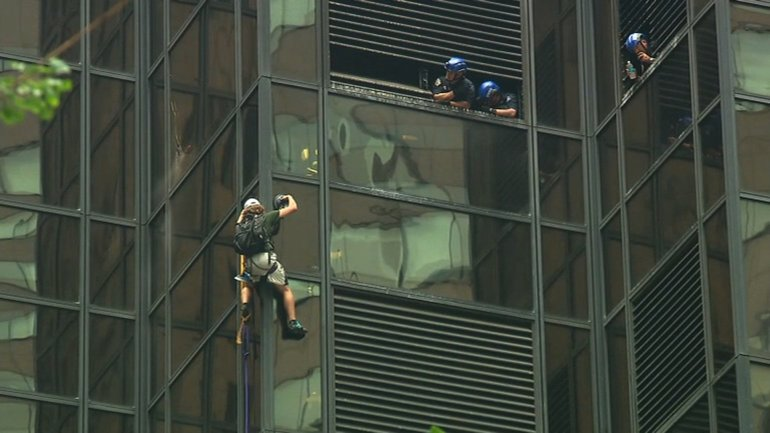 A man scaled Trump Tower using giant suction cups Wednesday.