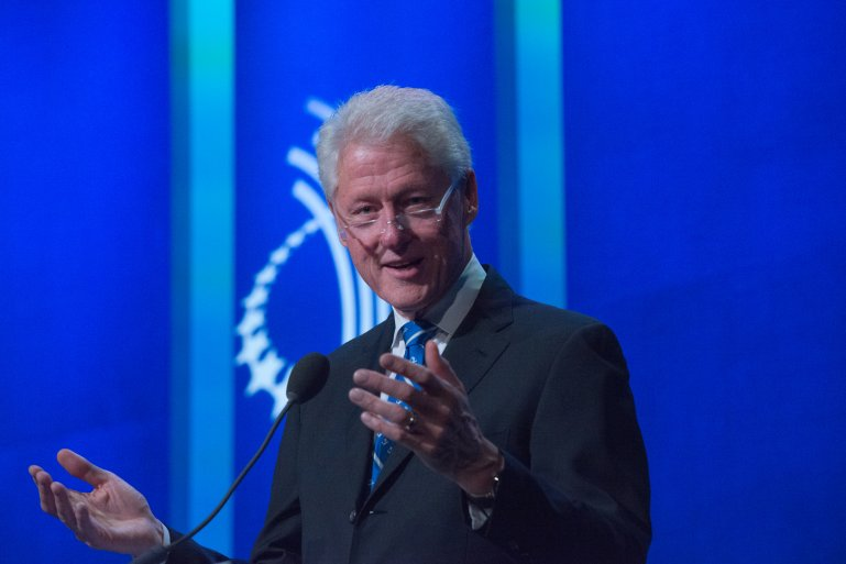 NEW YORK, NY - SEPTEMBER 19: Former U.S. President Bill Clinton addresses attendees of the Clinton Global Initiative Annual Meeting at the Sheraton New York Times Square Hotel on September 19, 2016 in New York City. (Photo by Stephanie Keith/Getty Images)