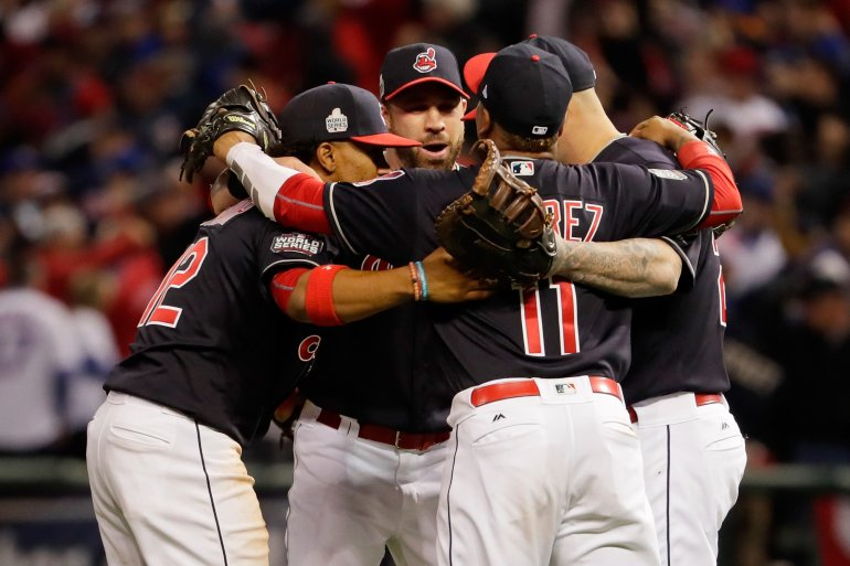 CLEVELAND, OH - OCTOBER 25:  The Cleveland Indians celebrate after defeating the Chicago Cubs 6-0 in Game One of the 2016 World Series at Progressive Field on October 25, 2016 in Cleveland, Ohio.  (Photo by Jamie Squire/Getty Images)