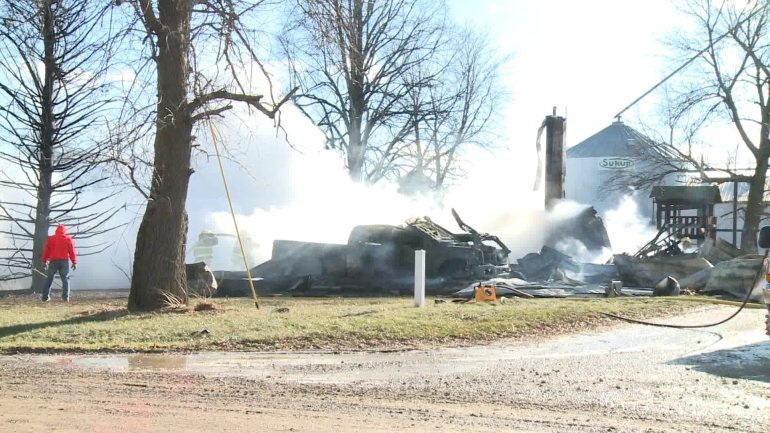 A fire destroyed a Gladbrook, Iowa, house Monday afternoon. (WHO-HD)