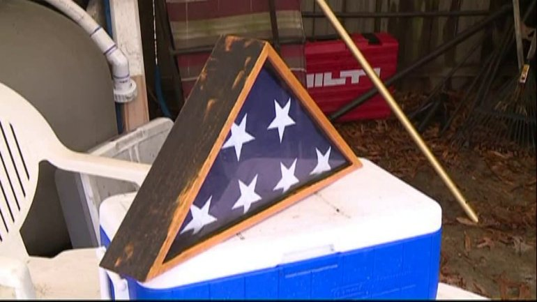 A World War II flag survived a house fire in Virginia. (WHO-HD)