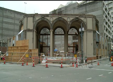 "Downtown New Orleans construction for ""Planet of the Apes"" movie"