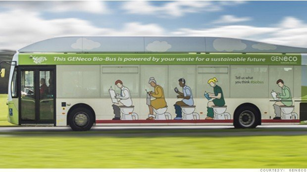 This bus is powered by human poop and food waste. (From GENeco)