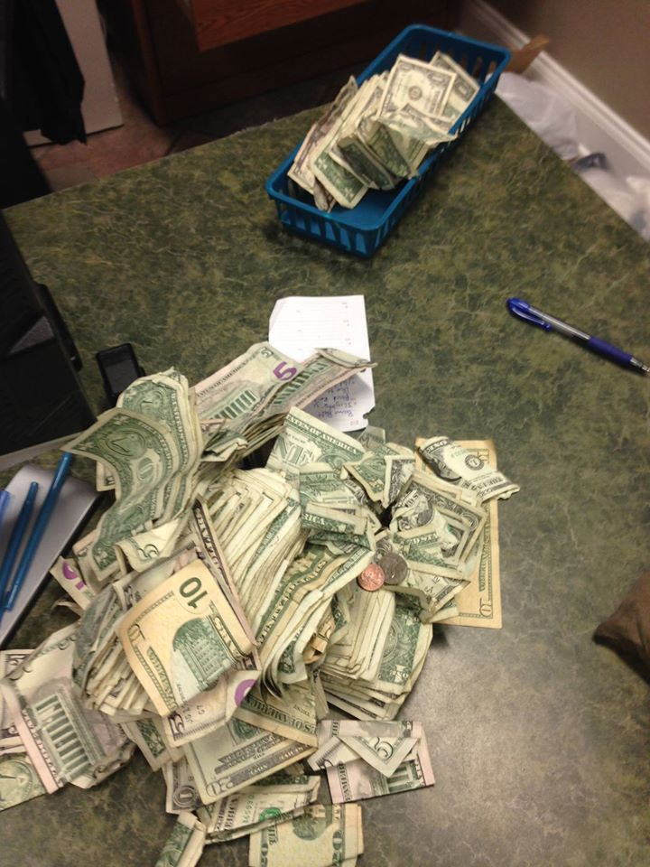Photo of $800 found in a homeless man's pockets. (From the Slidell Police Department)