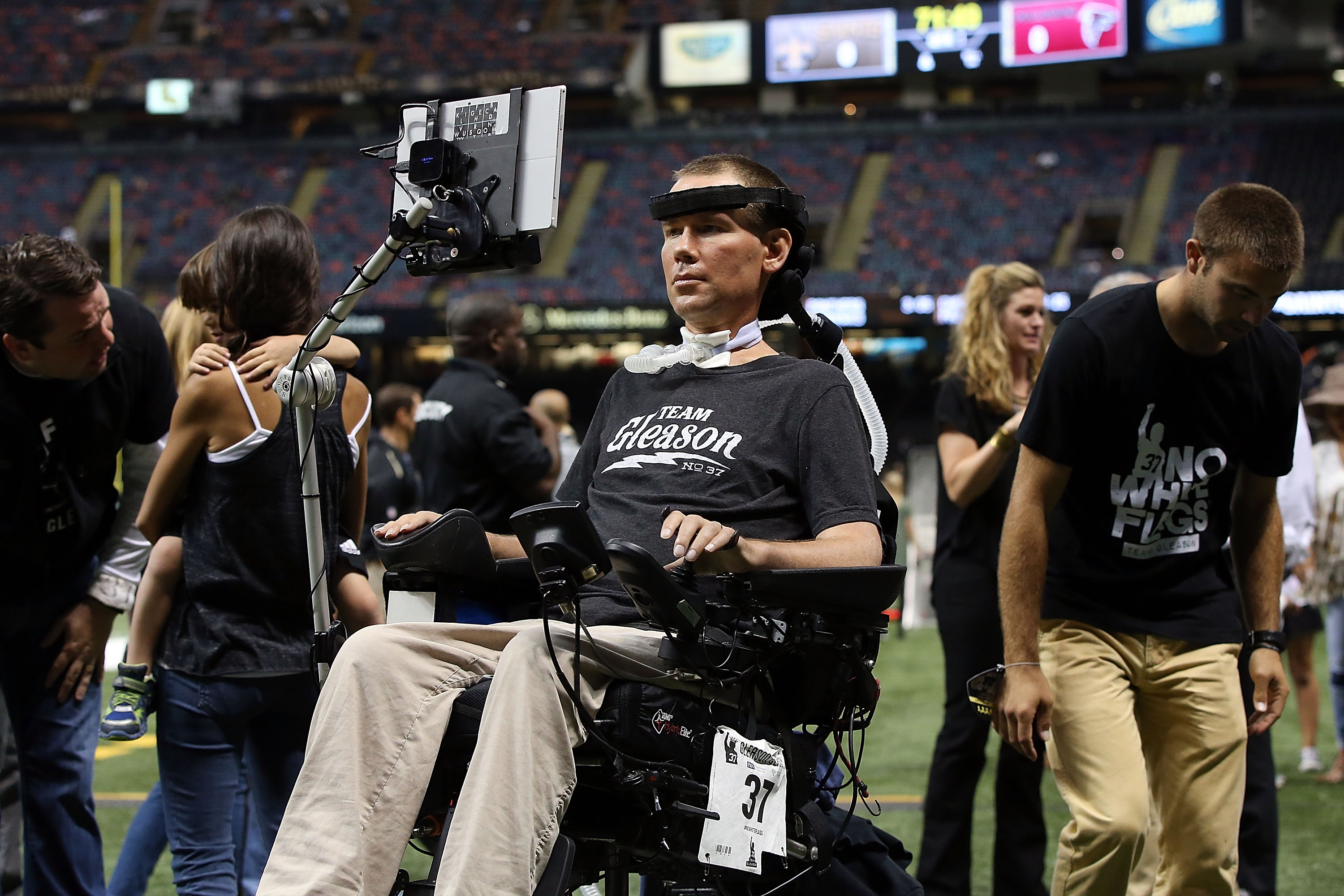 NEW ORLEANS, LA - OCTOBER 15:  Former New Orleans Saints player Steve Gleason watches action prior to a game between the New Orleans Saints and the Atlanta Falconsat the Mercedes-Benz Superdome on October 15, 2015 in New Orleans, Louisiana.  (Photo by Sean Gardner/Getty Images)