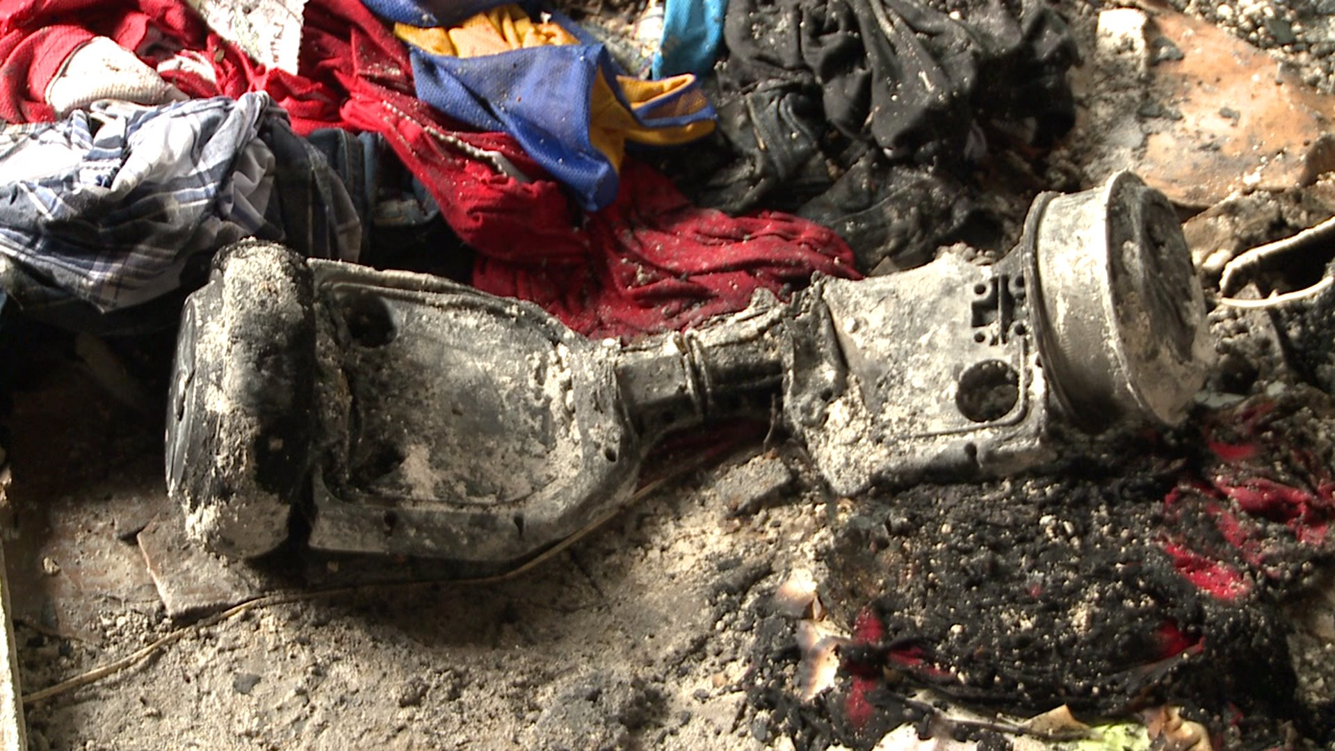 What's left of a hoverboard after an apparent explosion and fire in a Lafitte home.