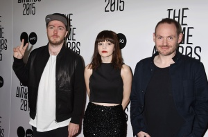 LOS ANGELES, CA - DECEMBER 03: (L-R) Musicians Martin Doherty, Lauren Mayberry and Iain Cook of Chvrches arrive at The Game Awards 2015 - Arrivals at Microsoft Theater on December 3, 2015 in Los Angeles, California.(Photo by Jeffrey Mayer/WireImage)