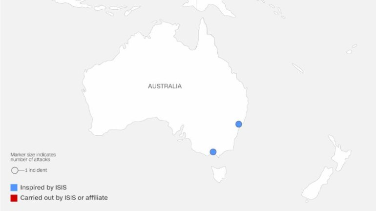 Map shows ISIS attacks in Asia and Australia. It is differentiated by attacks that were inspired by ISIS and those carried out by ISIS or an affiliate.