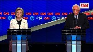 Bernie Sanders and Hillary Clinton at the CNN Democratic Debate in Brooklyn, New York on 4/14/16
