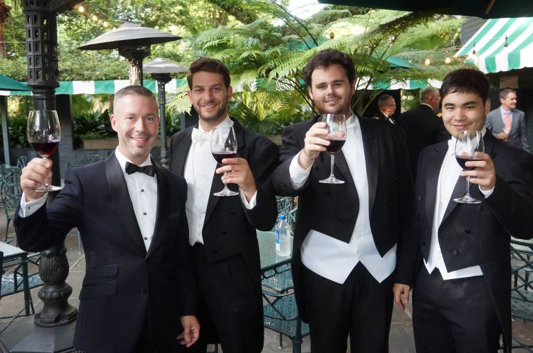 Louisiana Philharmonic Orchestra members with sommelier Dan Davis