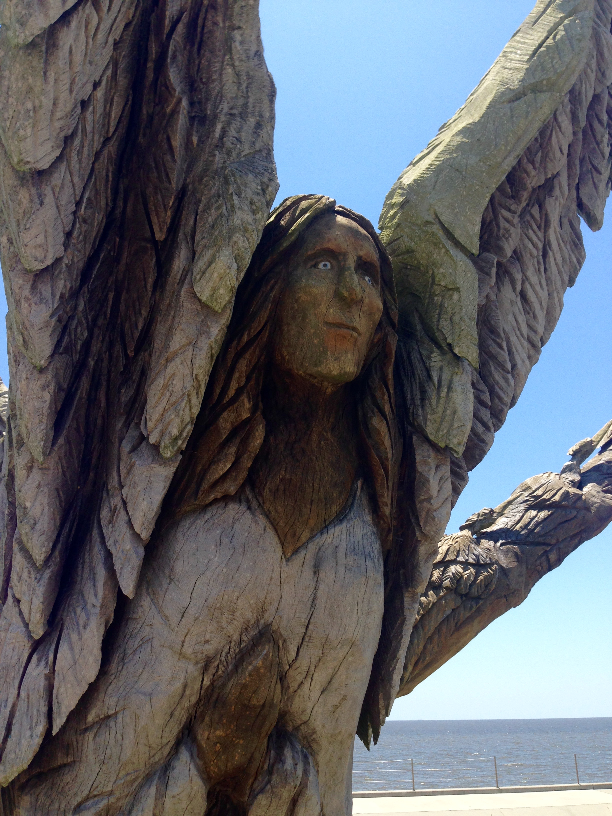 This angel has white eyes, representing her fear during Katrina. (Stephanie Oswald/WGNO)