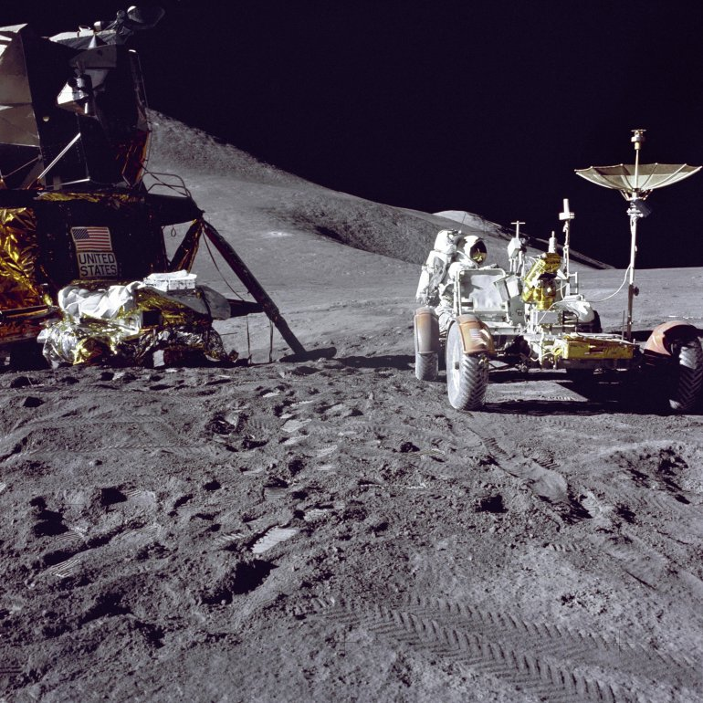 Apollo 15 lunar module pilot Jim Irwin loaded the lunar rover with tools and equipment in preparation for the first lunar spacewalk at the Hadley-Apennine landing site. The Lunar Module 'Falcon' appears on the left in this image. The undeployed Laser Ranging Retro-Reflector lies atop Falcon's Modular Equipment Stowage Assembly.  Apollo 15 launched 40 years ago, on July 26, 1971, from Launch Pad 39A at the Kennedy Space Center.
