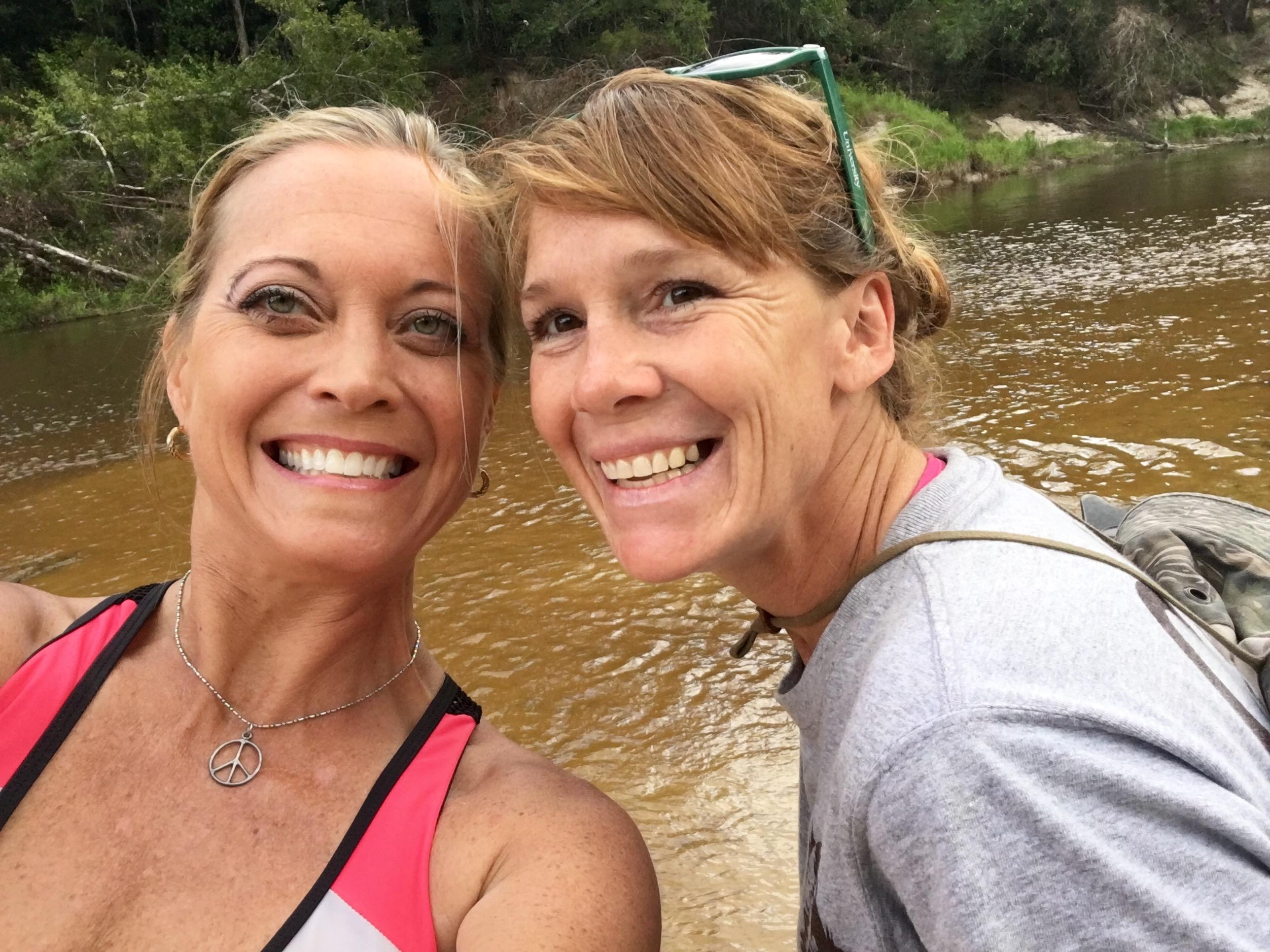 "WGNO Travel Girl Stephanie Oswald with Wolf River Canoe Guide, Joanna ""Jo"" Dorris."